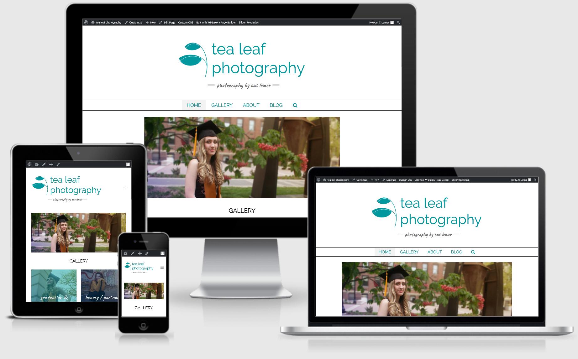 tea leaf photography responsive website homepage image