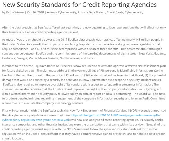 financial expert credit reporting standards Blog Excerpt