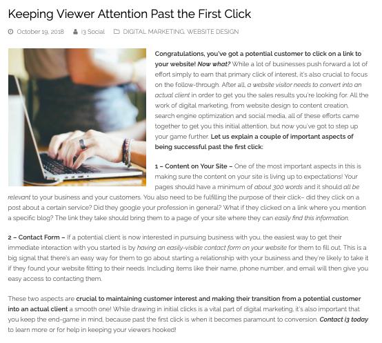 website design blog example