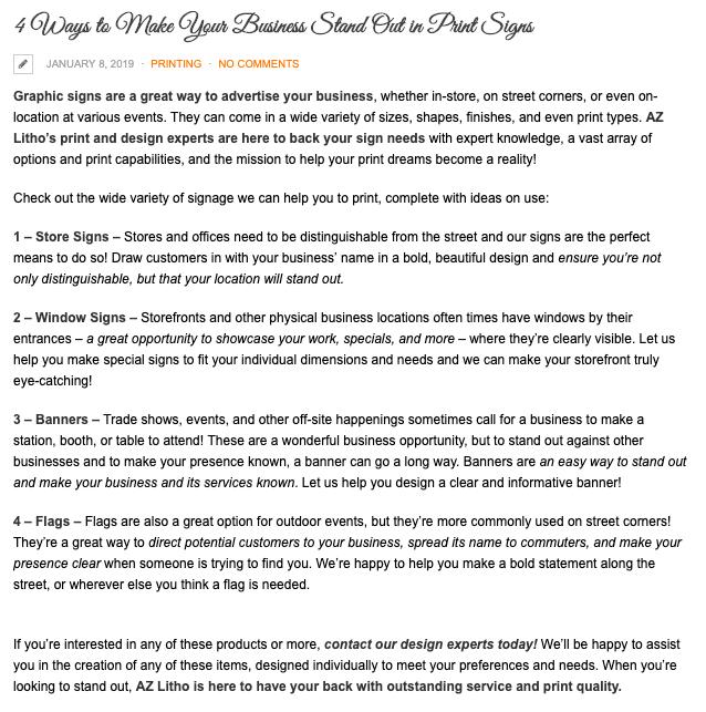 printing company blog example
