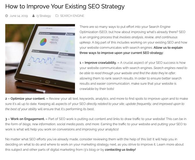 seo improvement blog example