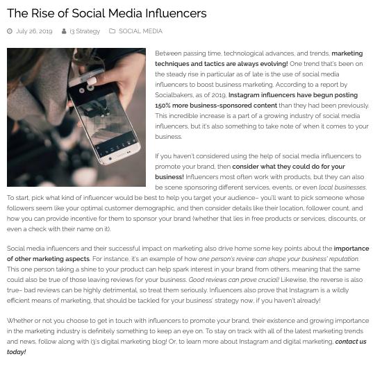 social media influencer blog example