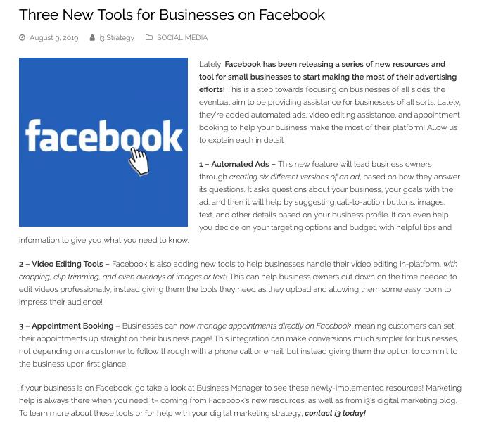 social media blog example