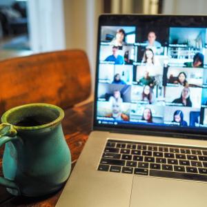 meeting group on laptop image